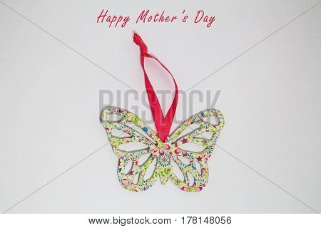 A handmade butterfly ready for hanging  for decoration