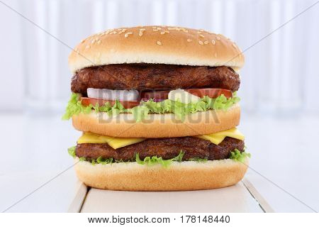 Double Burger Hamburger Fresh Tomatoes Lettuce Cheese