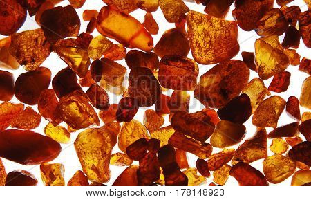 Unprocessed pieces of red amber on a white background