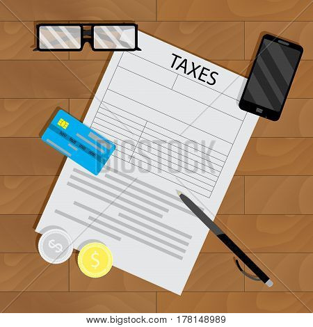 Tax form vector. Audit and taxation government illustration of accounting work