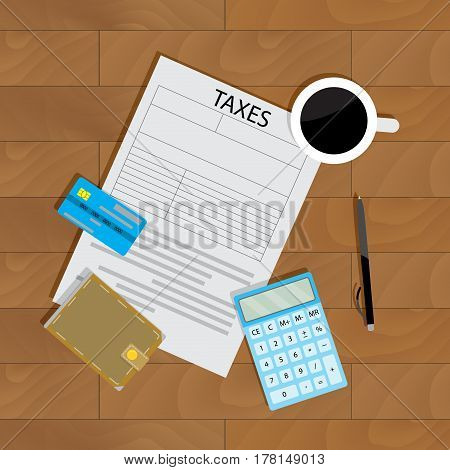 Annual payment of taxes. Banking profit and budget wallet and audit document vector illustration
