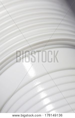 Plastic cups on the side close up