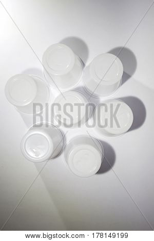 Plastic cups in a circle flower shape