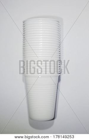 A stack of plastic cups studio isolated
