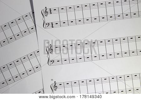 Notation sheet paper for piano playing pieces
