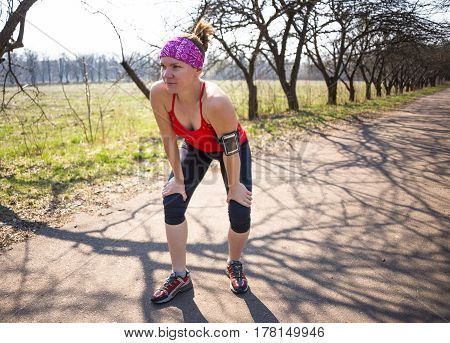 Sport fitness woman doing outdoor cross training workout