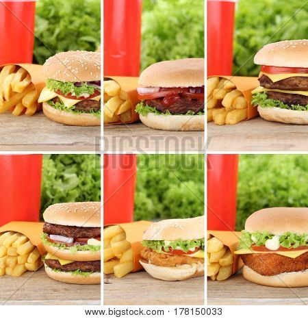 Hamburger Collection Set Cheeseburger And Fries Menu Meal Combo Fast Food Drink