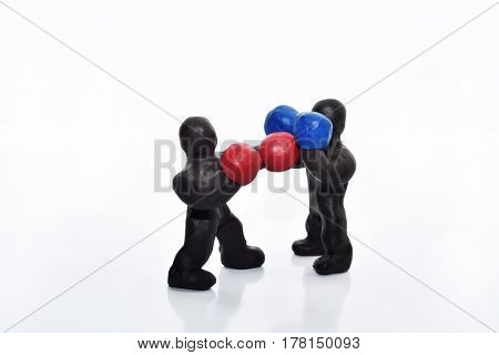 Boxing Figures From Plasticine.