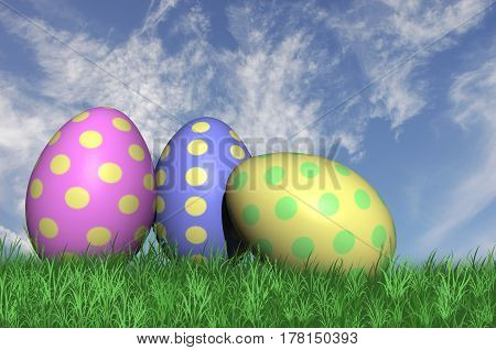 3D. Three speckled easter eggs isolated against a blue sky