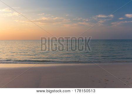 Beautiful Early Sunset Over Calm Sea.
