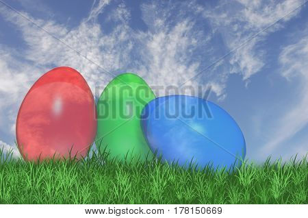 3D. Three see trough easter eggs isolated against a blue sky