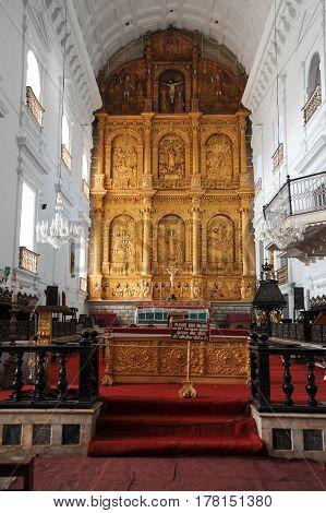 Goa, India - 8 January 2015: interior of Se Cathedral in Old Goa Goa India