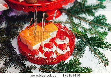 New Year's Concept. Heart Shaped Cookies, White Background