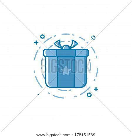 Vector business illustration of blue colors icon shopping concept in line style. Linear blue gift or bounty. Design for internet, banner, web page and mobile app. Outline filled object e-commerce.