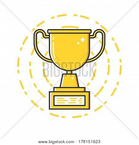 Vector business illustration of gold award cup icon in flat linear style. Graphic design concept of winner or champion on contest. Use in Web Project and Applications. Outline stock object.