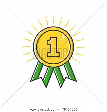 Vector business illustration of gold badge medal with ribbon icon in flat line style. Graphic design concept of winner or champion on contest. Use in Web Project and Applications. Outline stock object