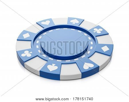 Casino chip on a white background. 3d illustration.