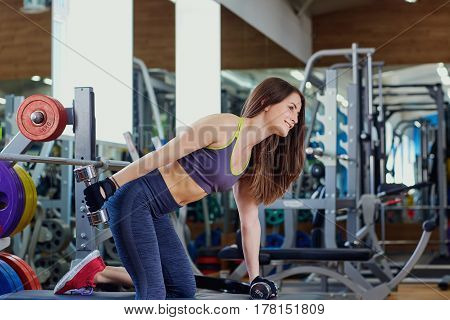 Young sporty girl with dumbbells in hands doing exercises in sports hall.