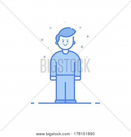 Vector illustration of blue icon in flat line style. Linear cute and happy boy. Graphic design concept of man use in Web Project and Applications Outline filled isolated object.