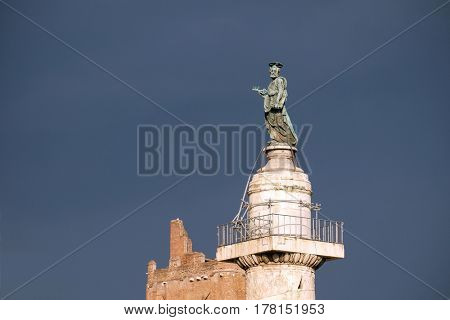 ROME, ITALY - SEPTEMBER 01: Statue of St Peter, Church of the Most Holy Name of Mary(Chiesa del Santissimo Nome di Maria al Foro Traiano) at the Trajan Forum in Rome, Italy on September 01, 2016.