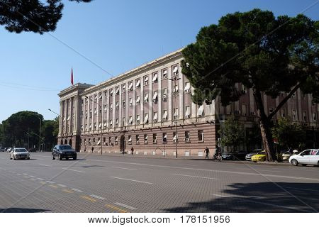 TIRANA, ALBANIA - SEPTEMBER 29: The House Parliament building in Albania on the boulevard Bulevardi Deshmoret e Kombit, Tirana, Albania on September 29, 2016.