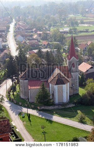 SCITARJEVO, CROATIA - OCTOBER 10: Parish Church of Saint Martin in Scitarjevo, Croatia on October 10, 2007.