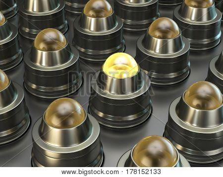 Light buttons on metal background. 3D illustration.