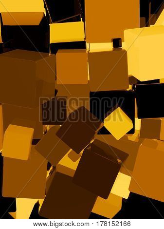 Shiny Orange Cube Background 3D Illustration
