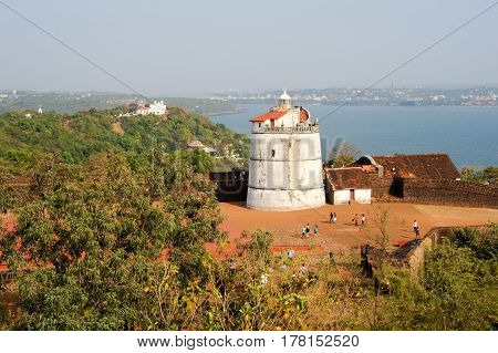 Lighthouse In Aguada Fort, Located Near Sinquerim Beach, Goa