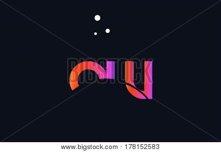 Az A Z  Pink Purple White Blue Alphabet Letter Logo Icon Template