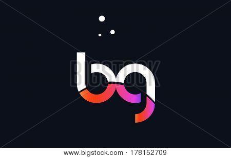 Bg B G  Pink Purple White Blue Alphabet Letter Logo Icon Template