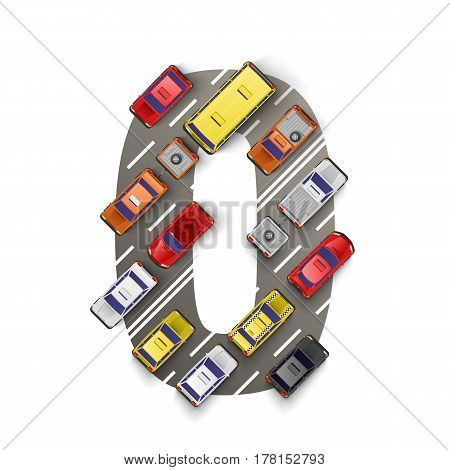 Road with cars in the form of number zero. Vector