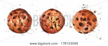 A watercolour drawing of chocolate chips cookies with splashes of paint around it, hand drawn on a white background, with a place for text
