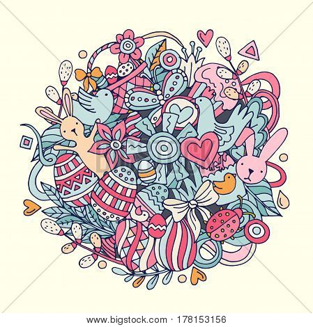 Cartoon hand drawn Doodle Happy Easter illustration. Line art detailed design background with objects and symbols. All objects are separated