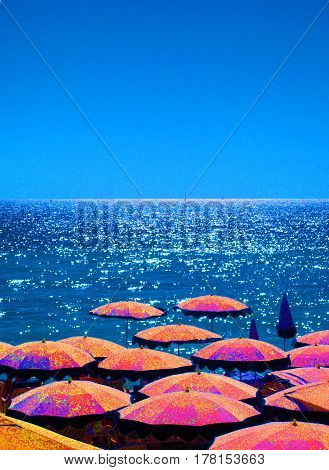 umbrellas on beach in Nice France The French Riviera
