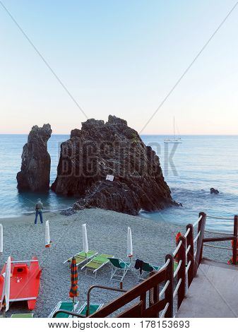 Monterosso Liguria Italy Cinque Terre landmark rock on the beach Europe