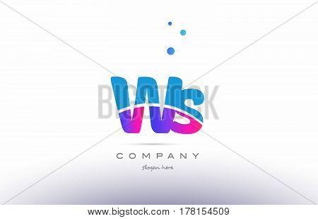 Ws W S  Pink Blue White Modern Alphabet Letter Logo Icon Template