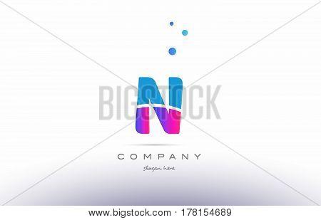 N Pink Blue White Modern Alphabet Letter Logo Icon Template