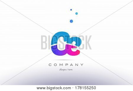 Ce C E  Pink Blue White Modern Alphabet Letter Logo Icon Template