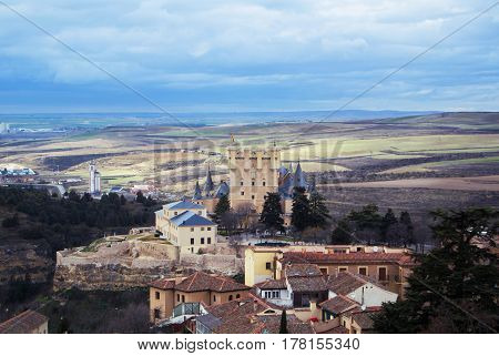 Castle of Segovia a view from an observation deck at Cathedral of the city Castilla and Leon Spain.