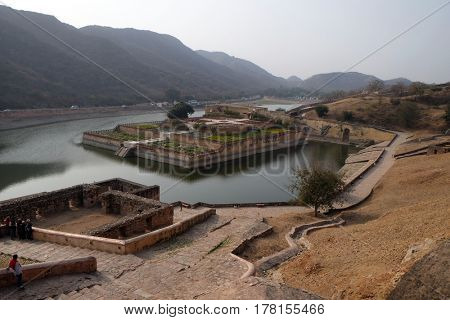 JAIPUR, INDIA - FEBRUARY 16: Beautiful gardens in Amber Fort, Jaipur, Rajasthan, India, on February, 16, 2016.