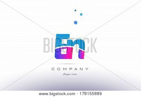 En E N  Pink Blue White Modern Alphabet Letter Logo Icon Template