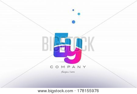 Ey E Y  Pink Blue White Modern Alphabet Letter Logo Icon Template
