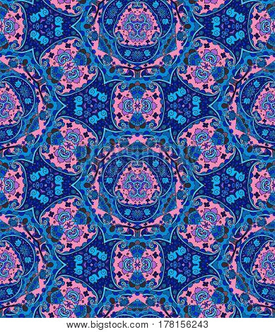 Folkloric print for fabric. Ethnic detailed floral and paisley seamless pattern. Vector illustration. Bedding wrapping.