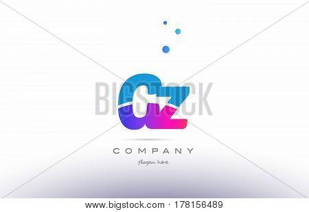 Gz G Z  Pink Blue White Modern Alphabet Letter Logo Icon Template