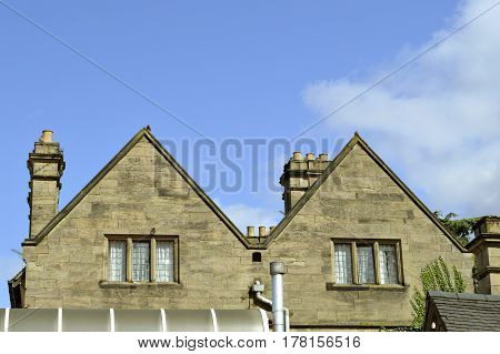 Bulkington Coventry Warwickshire England - August 17 2014 : Gable end of Weston Hall hotel in Warwickshire