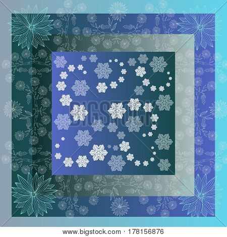Snowstorm. Lovely tablecloth with snowflakes and beautiful flowers. Bandana print or kerchief square pattern design style for print on fabric. Quilt.