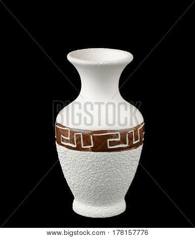 The white vase on a black background