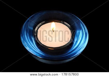 The circular candle on a black background