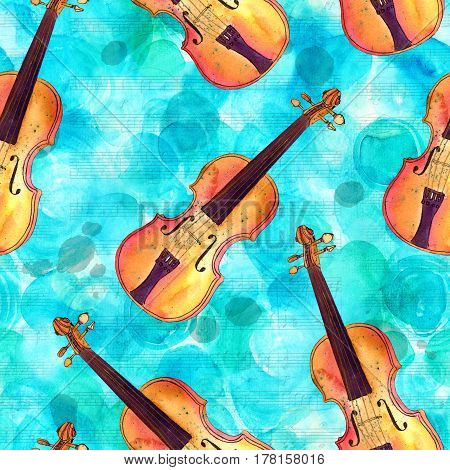 A seamless pattern with hand drawn violins and faded sheet music with ink stains on a turquoise background